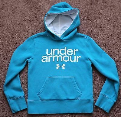Under Armour Cold Gear Loose Fit Hoodie Light Blue Logo Size Youth Medium YMD