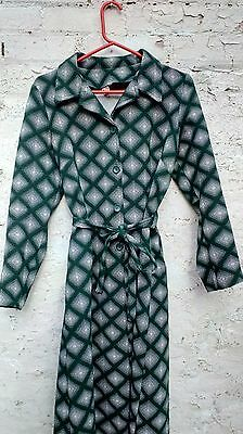 Vintage retro 70's dress green and white size 12-14
