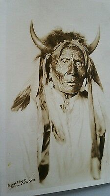 Canadian Vancouver B C Native Indian in traditional dress .. vintage postcard