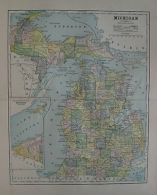 Original 1889 Map MICHIGAN Railroads White & Colored County Population Tables