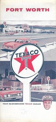 1965 TEXACO Road Map FORT WORTH Texas Westover Hills Haltom City Carswell AFB