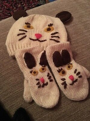 Mini Boden Cat Hat And Mitts Age 2 To 6 Years