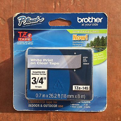 """Genuine Brother P-Touch TZ White Print on Clear Tape 3/4"""" TZe-145 - NEW Sealed"""