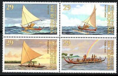 Micronesia 1993 Traditional Boats/Canoes SG.314/317 Set of 4  Mint (MNH)