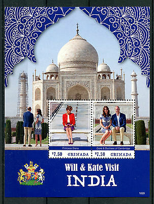 Grenada 2016 MNH Prince William Kate India 2v S/S Princess Diana Royalty Stamps