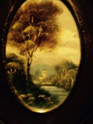 Old Miniature Oval Signed Oil Painting