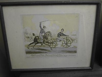 Pair of Original 1819 Cycling Caricatures by Thomas Tegg