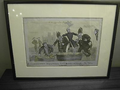Original 1829 Hand Coloured Caricature Etching by Fores