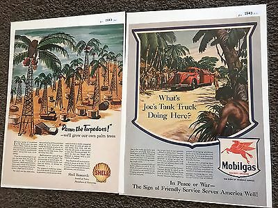 Two Old Oil And Gas Advertising Mobilgas/Shell Nice Color