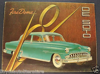 1953 DeSoto Firedome 8 Sales Brochure Folder Export Market Original 53