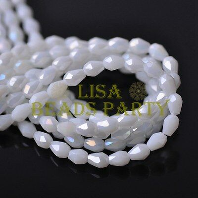 New 100pcs 5X3mm Teardrop Crystal Glass Spacer Loose Beads Opaque White AB