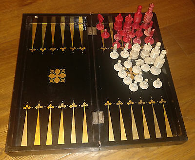 Antique Mid 19th Chinese Backgammon Board Lacquer Lacquerware with Chess Pieces
