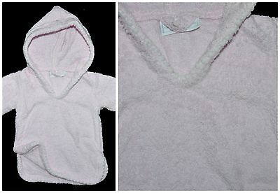 THE LITTLE WHITE COMPANY Baby Girls Hooded Towelling Beach/pool Pink 0-3 Months