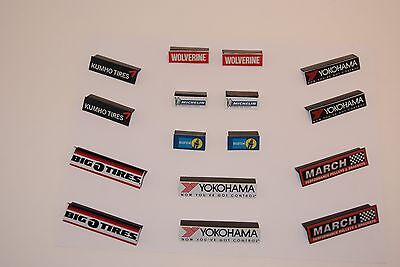 Ho Scale Slot Car Scenery / RACEWAY INFIELD 16  piece SIGNAGE SET  for AFX,TYCO