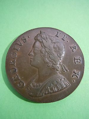 1735 George Ii Half Penny Rare To Find This Nice Look!