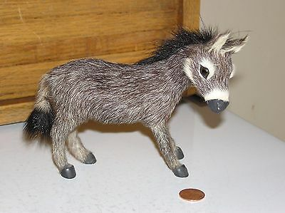 miniature donkey burro figurine with real hair