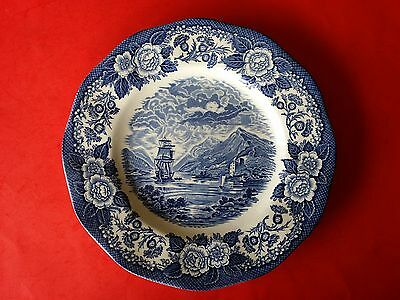 Rare Royal Warwick China England Lochs Of Scotland Loch  Linnhe Plate Blue