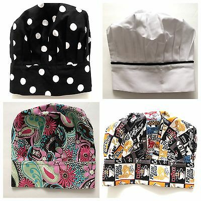 Two Lumps of Sugar BBQ Chef Hats Caps Lot Novelty Floral Dots White Coffee Shop