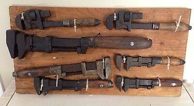 Antique Display Lot Pipe Wrench Monkey Wood Handle Tools Cast Iron Farm Tractor