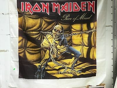 """Vintage 1983 45"""" X 45"""" Iron Maiden Piece Of Mind Cloth / Fabric Poster Banner"""
