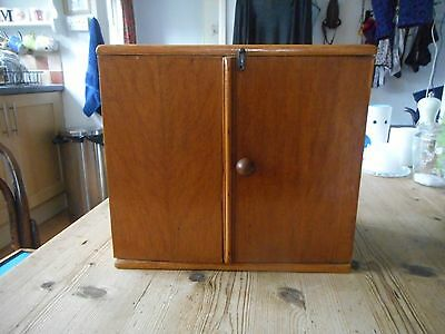"Old wooden medicine cupboard,11"" x 10"". Solid wood."