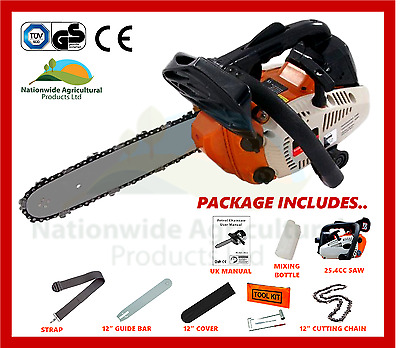 """Top Handle 12"""" Petrol Topping Pruning Chainsaw 25.4cc With Harness New"""