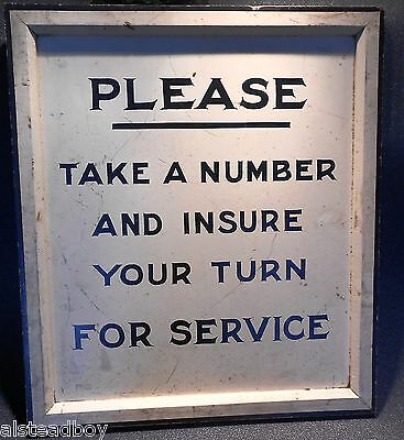 1950 Sign PLEASE TAKE A NUMBER AND INSURE YOUR TURN FOR SERVICE Black White