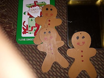 Gingerbread 3 Christmas Handmade Hang Wooden Ornaments In A Tin Box Not Original