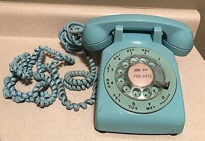 Vintage Western Electric Rotary Dial Phone Aqua Turquoise Blue Ships FREE!