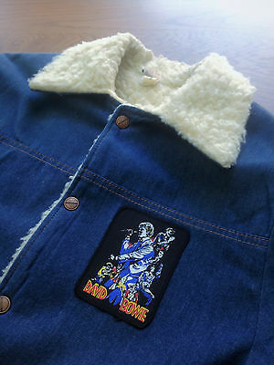 Vintage 70s Sherpa Denim Jacket // David Bowie // Mens Size Small