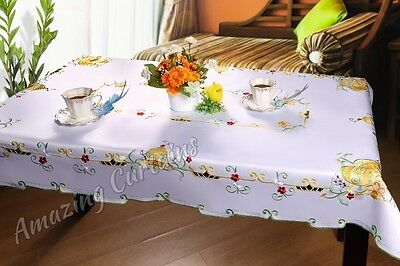 Large Easter Tablecloth White with Easter Eggs 140 x 240cm, 150 x 300cm