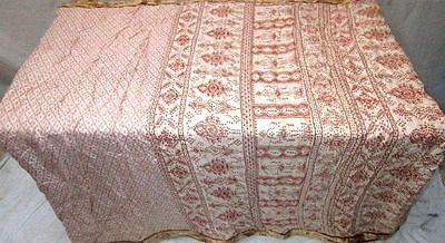 Cream Brown Pure Silk 4 yard Vintage Sari Saree HOT BARGAIN DEAL actress #ADU7Q