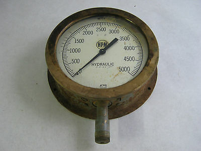 ANTIQUE BRASS HPM ACME GAUGE AND INSTRUMENT CO. STEAM GAUGE 5000 pounds