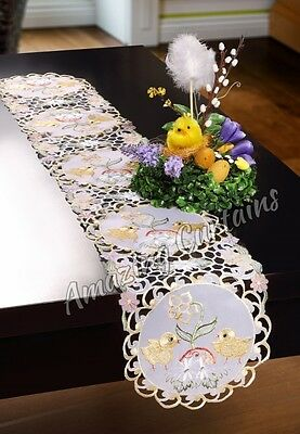 Long Easter Table Runner Yellow with Chicks 20 x 160cm, 20 x 200cm