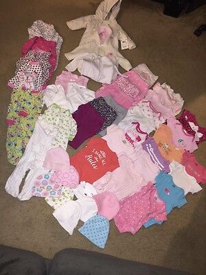 Huge Lot Of 48 Baby Girl Size 0-3 Months Clothes