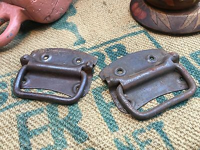 Pair of Antique Cast Iron Trunk Luggage Case Handles