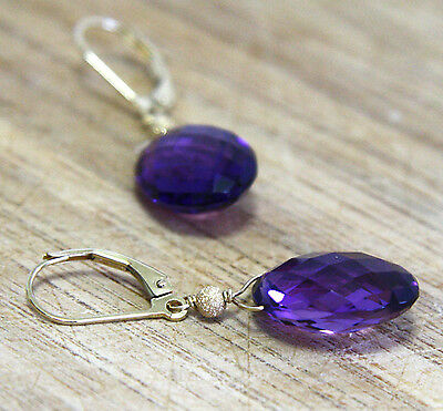Large Natural Amethyst Briolette Earrings Solid 14K Yellow Gold 6th Anniversary