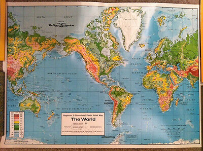 """VTG 1970's Hagstrom Plastic Relief Map of the World 27"""" x 20"""" Educational Aids"""
