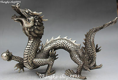 """10"""" Chinese Fengshui Silver Carving Dragon Dragons Animal Beast Hold Bead Statue"""
