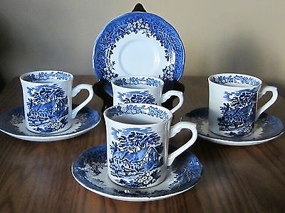 J & G Meakin Romantic England Blue Set of 4 Cups/Mugs and Saucers