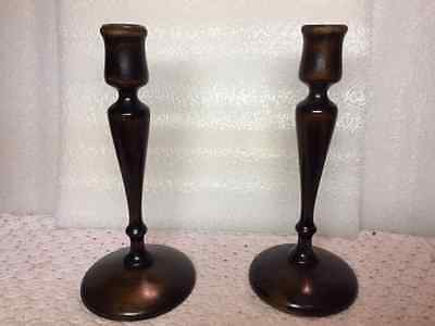 Antique Pair Turn Wood Walnut Candlesticks Candle Holders- #995