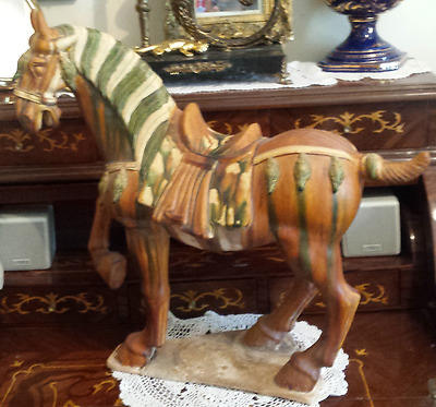 Antique Ceramic Tang Dynasty Pottery Asian Ceramic Horse Statue Very Rare Large