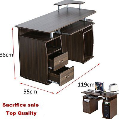 Wood Computer Desk Home Workstation Office Furniture Drawer Shelf Laptop Table Q