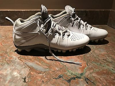 NIKE HUARACHE LACROSSE CLEATS - WHITE/GRAY men size 7.5