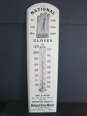 Vintage Old Wood National Glove Works San Francisco Ca. Advertising Thermometer