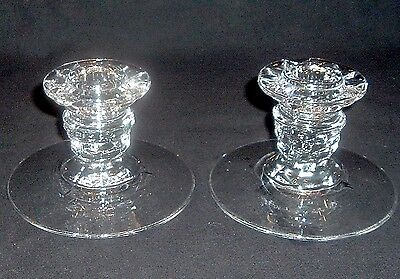 """Lovely Vintage Fostoria American Single Low Candle Holder Pair """"perfect"""" (Set B)"""