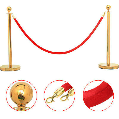 Heavy Duty Stanchion Posts 6.5ft Red Rope Queue Barrier Crowd Control w/Hooks