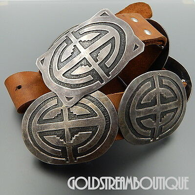 Vintage Hopi Signed Chs 925 Silver Ethnic Overlay 9 Concho Links Leather Belt