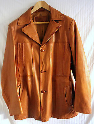 William Barry Vintage Retro 70s Brown Leather Jacket sz 44 Long