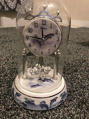 """Waltham """"Dolphins"""" Anniversary Clock with Westminster Chime-Porcelain Base/Dial"""